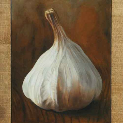 190. Garlic in Oak Frame