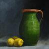 291 Green vase with lemons